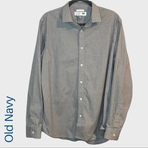 🌈Old Navy gray check slim fit button down shirt